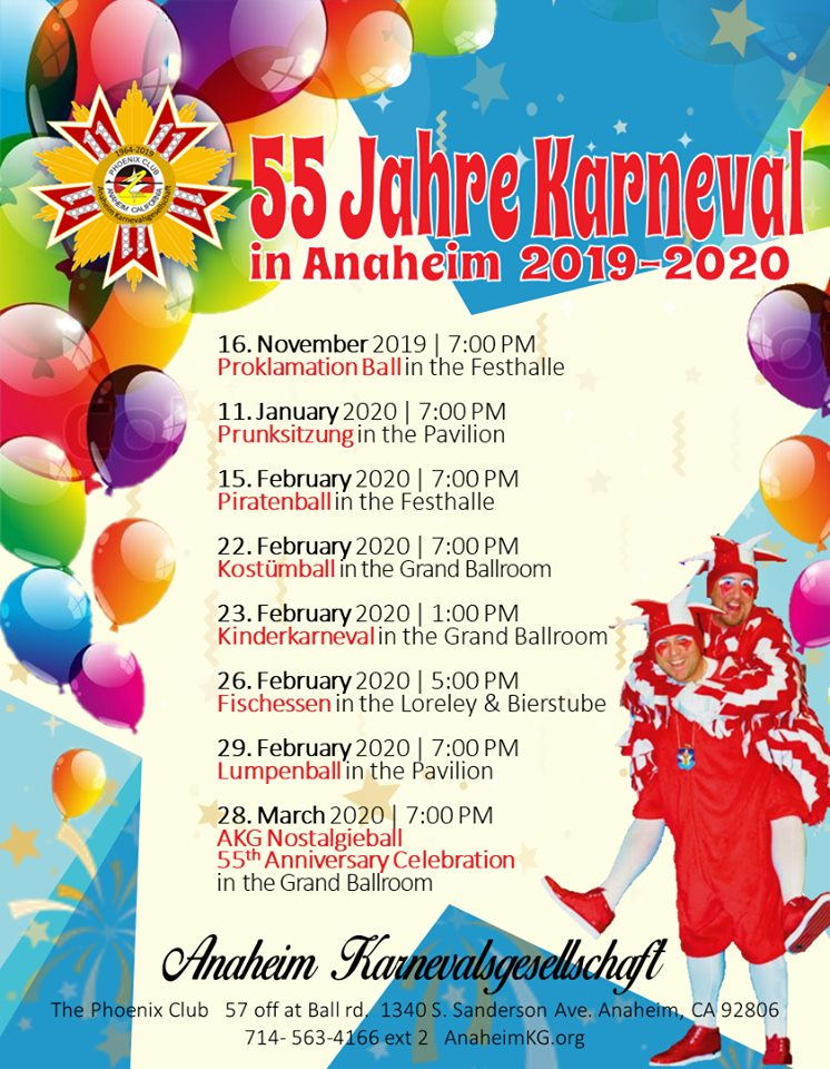 Phoenix Events February 2020.Upcoming Events Anaheim Karnevalsgesellschaft